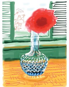 My Window with iPad drawing No. 281, 23rd July 2010. [Rose in a Glass Vase] ink-jet print.
