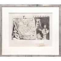 Dans l'Atelier: Peintre et sa toile avec un modèle assis. (In the Studio: Painter and his canvas with a seated model.)
