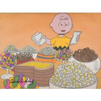 Original production cel of Charlie Brown standing in front of a table with party food.